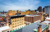 image of pov  - View of buildings from a parking garage in Baltimore Maryland - JPG