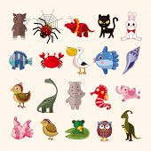 stock photo of cobweb  - set of animal icons