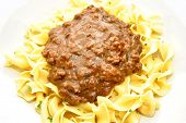 Hamburger Gravy Over Ribbon Noodles