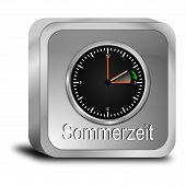 foto of daylight saving time  - decorative silver daylight saving time button 3d - JPG