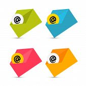 E-mail, Email Icons, Envelope Icons Set Isolated on White Background