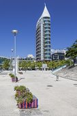 Lisbon, Portugal - August 02, 2013: Sao Rafael Tower in Parque das Nacoes (Park of Nation), Lisbon,