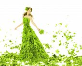 Fantasy Beauty, Fashion Woman In Seasons Spring Leaves Dress. Creative Beautiful Girl In Green Summe