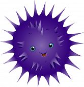 Illustration of a Cute Urchin Smiling Happily