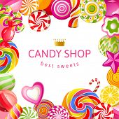 image of lollipop  - Bright background with candies - JPG
