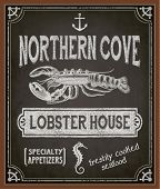 stock photo of seahorse  - Chalkboard Poster for Seafood Restaurant  - JPG