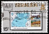 Postage Stamp Bermuda 1986 Map Of Atlantic Ocean