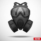 stock photo of rubber mask  - Military black gasmask respirator - JPG