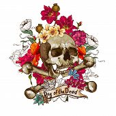 stock photo of day dead skull  - Skull and Flowers Vector Illustration Day of The Dead - JPG