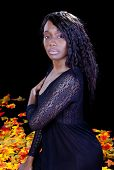 stock photo of night gown  - Young Black Woman in Night Gown Sitting - JPG