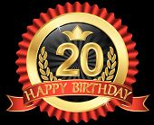 25 Years Happy Birthday Golden Label With Ribbons, Vector Illustration