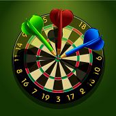 Dartboard with darts in the center