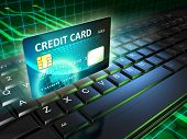 A credit card as an on-line payment tool. Digital illustration.