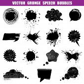 Grunge Speech Bubbles - Various Shapes - for design or scrapbook - Vector Set