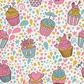 Gentle concept seamless pattern. Tasty background made of cupcakes. Seamless pattern can be used for