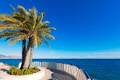 Altea beach balconade typical white Mediterranean village Alicante of Spain