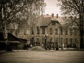 stock photo of hitler  - Main entrance to former Nazi concentration camp Auschwitz I - JPG