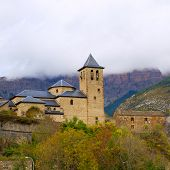 Torla Church in Pyrenees Ordesa Valley door Aragon Huesca Spain