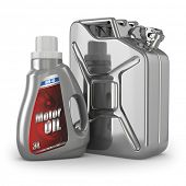 Motor oil canister and jerrycan of petrol or gas. 3d