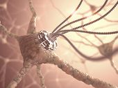 pic of nerve cell  - Neural network with one artificial connection in nanotechnology concept - JPG
