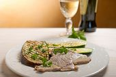 escalope with grilled vegetables