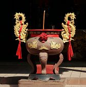 Large Incense Burner With Golden Dragons