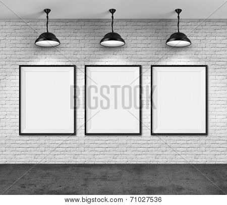 Art gallery. Blank picture frames on brick wall background. Poster ...