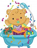 Illustration Featuring a Baby Bear Sitting in a Tub Full of Gifts