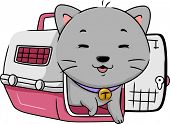 Illustration Featuring a Cat Happily Stepping Out of a Cat Carrier