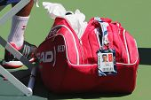 Six times Grand Slam champion Novak Djokovic customized Head tennis bag at US Open 2014