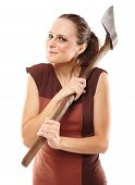 picture of ax  - Halloween image with a crazy young woman holding a rusty old ax - JPG