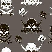 Vector Seamless pattern with skulls and pirate sword