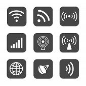 Wireless icons set white silhouettes on black