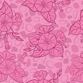 stock photo of ipomoea  - Seamless floral background - JPG