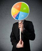 Businessman holding a colorful pie chart in front of his head