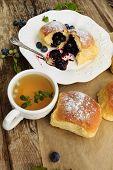 Brioche with blueberries - tasty sweet breakfast