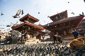 KATHMANDU, NEPAL - NOV 28, 2013: Old Durbar Square with pagodas. Largest city of Nepal, its cultural