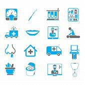 picture of home remedy  - set of 16 medical icons with blue color theme - JPG