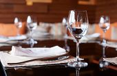 Place setting in a restaurant, shallow focus