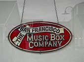 SAN FRANCISCO, CA - NOVEMBER 17: The San Francisco Music Box Company Sign in Storefront Window Pier