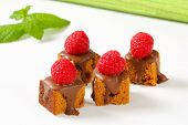 Bite-sized gingerbread squares with liquid chocolate and fresh raspberry on top