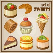 stock photo of ice-cake  - Vector set of sweets and cakes ice cream and cupcakes - JPG