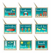 Set Of Beach Map Pointers.