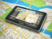 GPS navigation system on the city map. 3d