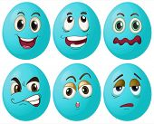 Illustration of blue egg with expressions