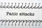 pic of panic  - Close up of Panic attack text in questionmarks - JPG
