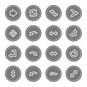 Arrows web icons, grey circle buttons