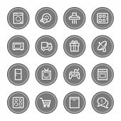 Home appliances web icons, grey circle buttons