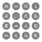 Travel web icon set 2, grey circle buttons