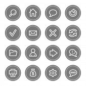 Web & internet icon set 1, grey circle buttons